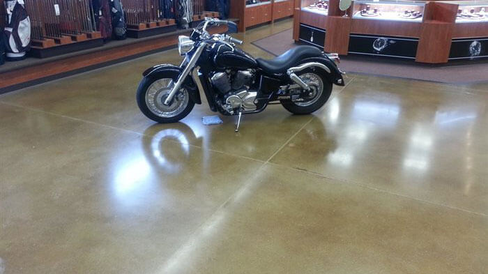 concrete floor with motorcycle.