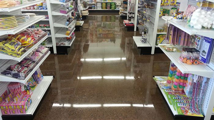 shiny concrete floor in retail store.
