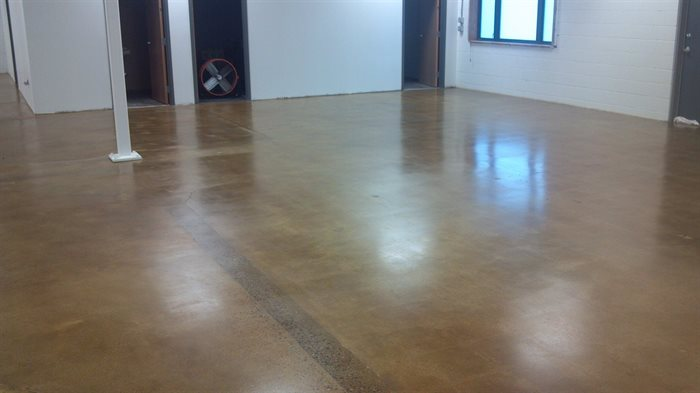 body shop concrete floor.